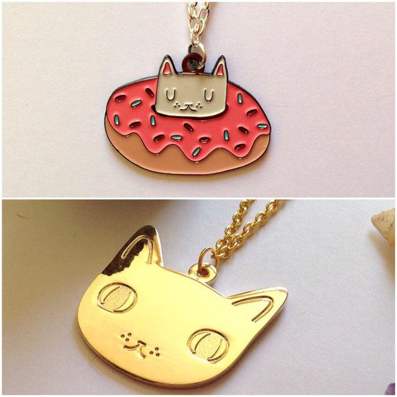 Two Cat Necklaces  Cat Necklace  I like cats  Cat by ilikeCATSshop