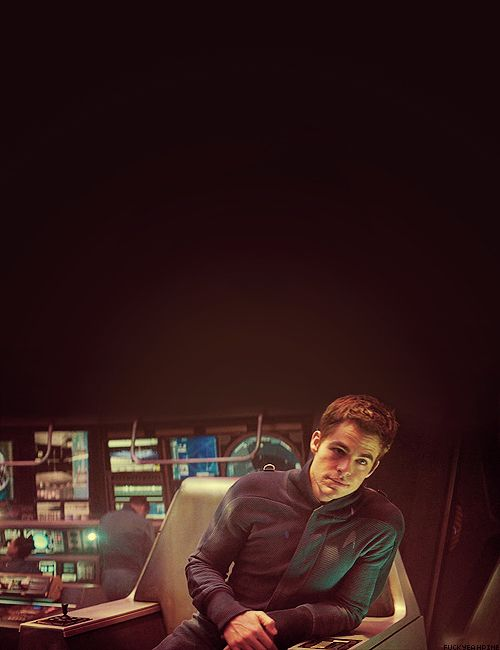 Chris Pine as Captain Kirk in Star Trek. JUST MARRY ME ALREADY MY GOODNESS
