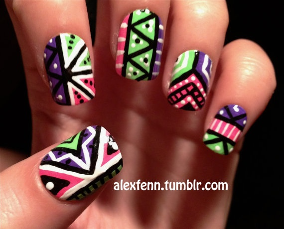 Neon Aztec Fake Nails by CompulsiveNails on Etsy, $25.00