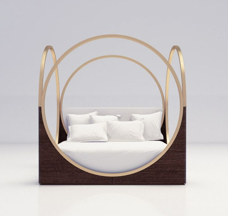 LUXURY FURNITURE |  a very original bed design, brass circles on the side  | www.bocadolobo.com/ #luxuryfurniture #designfurniture