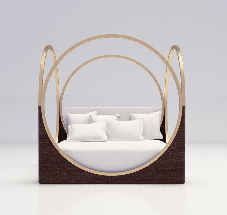 LUXURY FURNITURE |  a very original bed design, brass circles on the side  | www.bocadolobo.com/ #luxuryfurniture #designfurniture