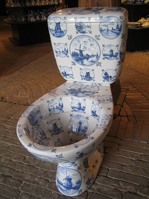 Delft blue toilet.