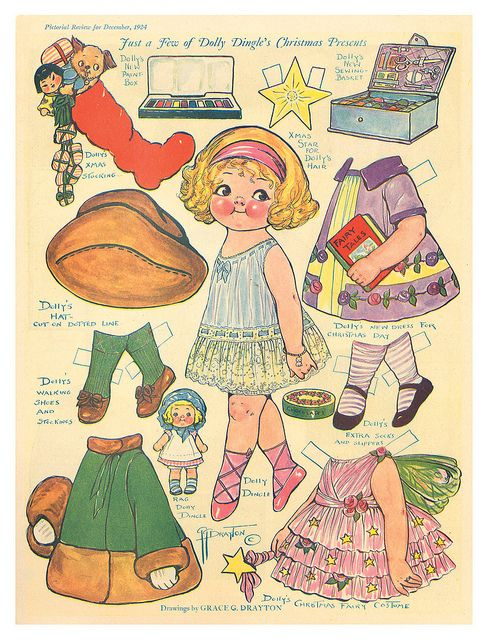 DOLLY DINGLE Christmas Presents 1924, December, Pictorial Review, Drawings by Grace G. Drayton