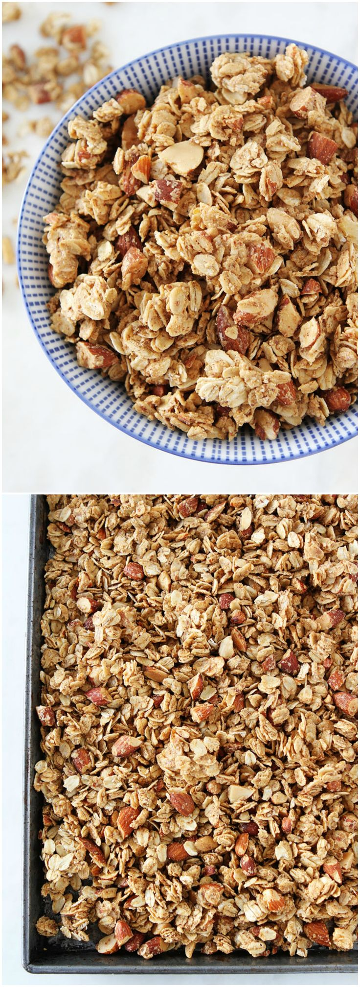 Almond Butter Granola Recipe on twopeasandtheirpod.com The BEST homemade granola recipe and it's so easy to make!
