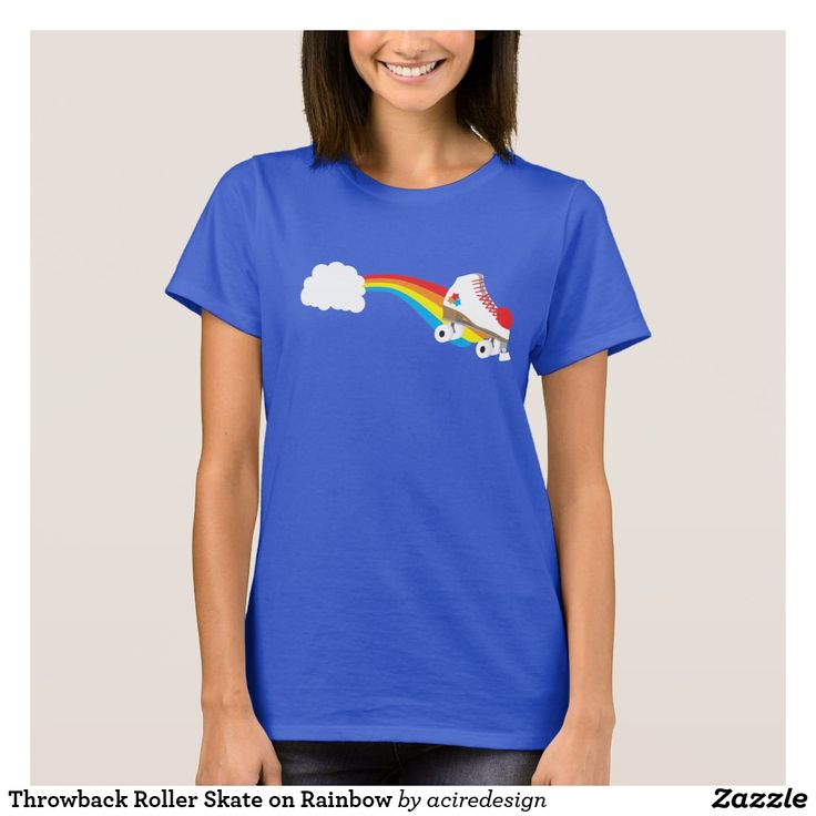 Throwback Roller Skate on Rainbow T-Shirt #tshirt #shirt #tee #fashion #style #illustration #design #art #buy #shop #shopping #buyart #artforsale #cool #sweet #awesome #color #colors #rainbow #rollerderby #rollerskate #skate #skating #fun