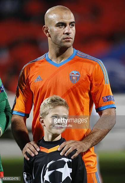 Aymen Abdennour of Valencia CF looks on before the UEFA Champions league match between Olympic Lyonnais and Valencia CF at Stade de Gerland on...