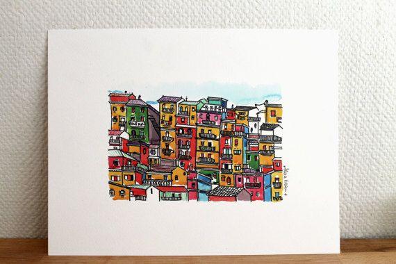 Lisbon print, Lisbon poster, lisbon watercolor print, Portugal print, wall art, travel print, aliaaessamart
