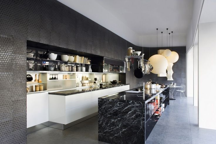 Kitchen Fresh Black Marble Kitchen Island White Laminated Cabinet Contemporary Kitchens Designs Metal Pot Rack Chrome Single Handle Faucet Gas Cooktop Polished Black Marble Countertop 18 Contemporary Kitchen Design