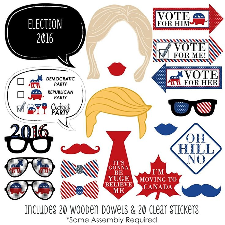 Amazon.com: 2016 Presidential Election - Photo Booth Prop Kit - 20 Count: Toys & Games