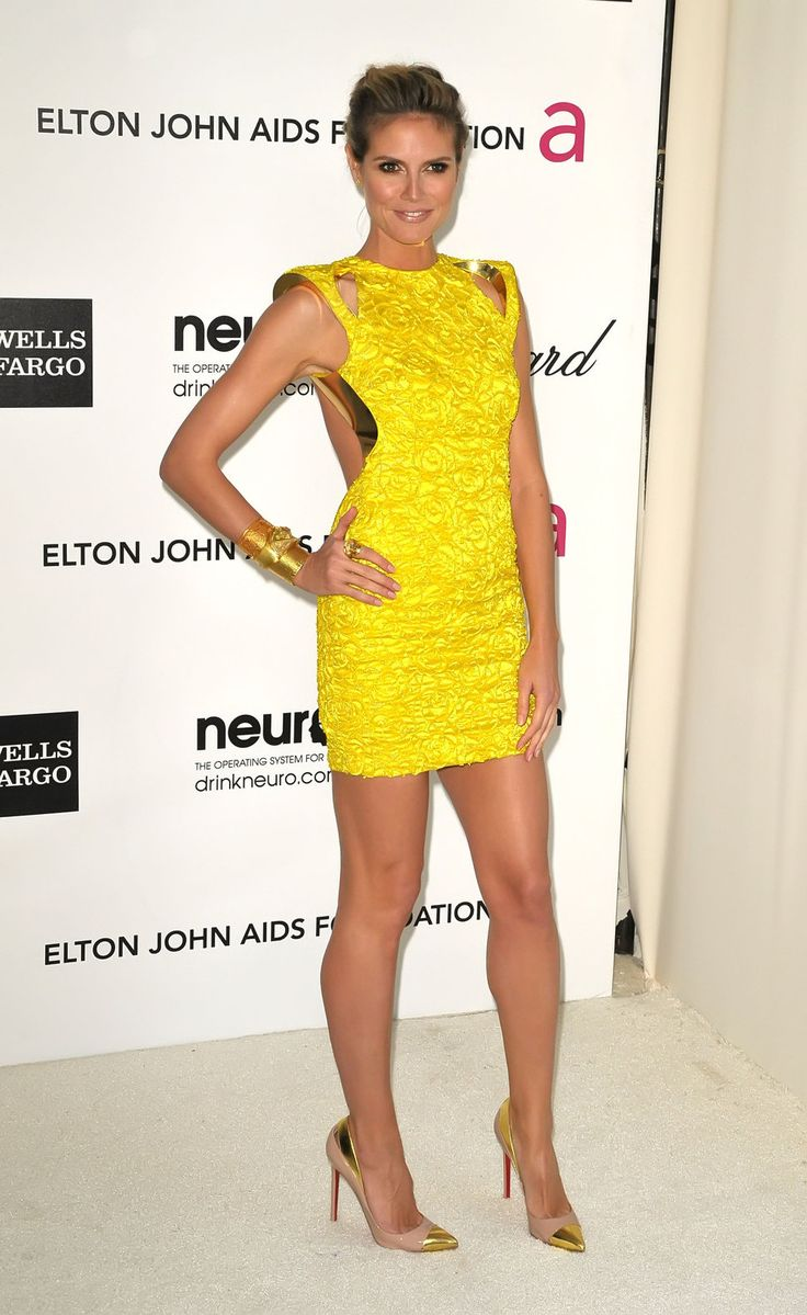 Yellow dress black heels
