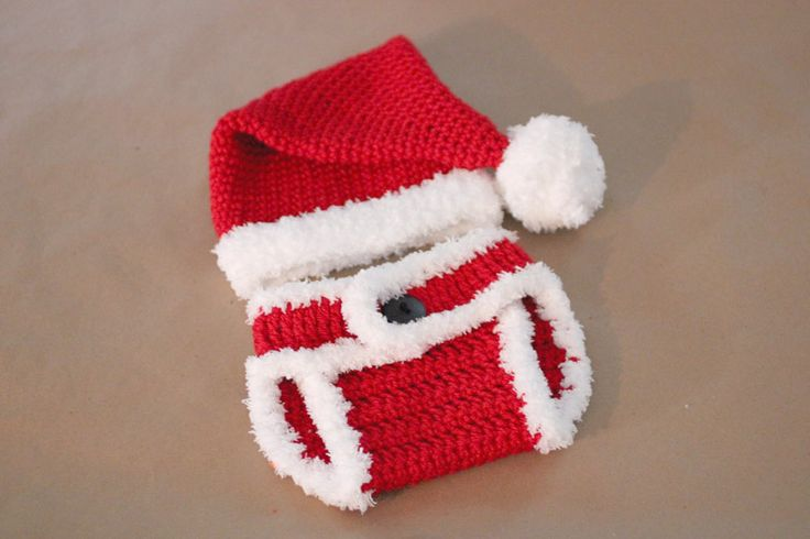 Crochet Santa Hat and Diaper Cover