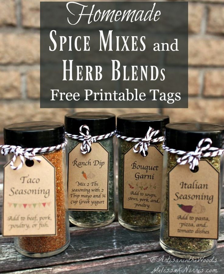 Make your own spice mixes and herb blends at home. These healthier versions save money and makes great homemade Christmas gifts with the free printable tags! Grab the recipes now!