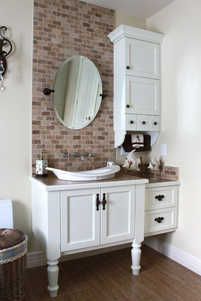 Salle de bain champêtre - Vanité blanche