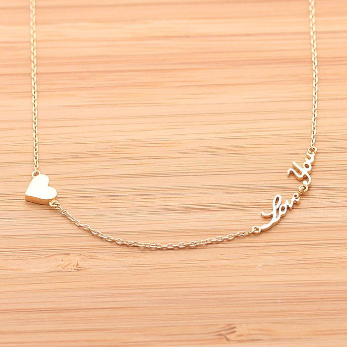 tiny heart & love you necklace
