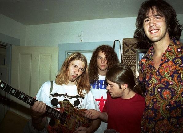 Kurt Cobain, Jason Everman, Chad Channing and Krist Novoselic in 1990.