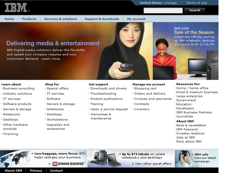 IBM website in 2004