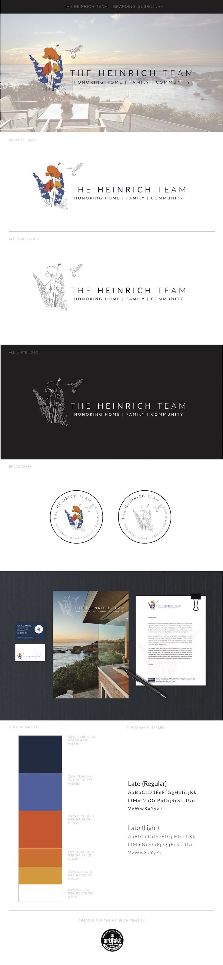 The completed branding guidelines we did for The Heinrich Team; a real estate team in California.