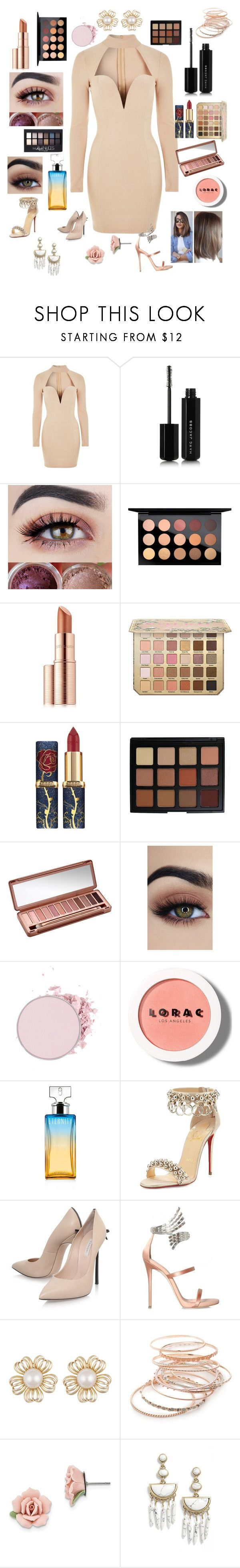 """""""high school reunion number one"""" by coolc-hi ❤ liked on Polyvore featuring Rare London, Marc Jacobs, MAC Cosmetics, Maybelline, Estée Lauder, Morphe, Urban Decay, LORAC, Calvin Klein and Christian Louboutin"""