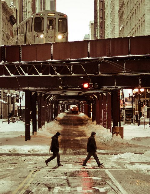 View of the el in the winter, right in the #Loop neighborhood of #Chicago.