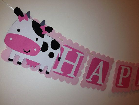 Girl Farm Animal/Barnyard Happy Birthday Banner by MKScrapAndParty, $28.00