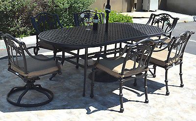 7pc outdoor dining set Palm Tree chairs swivels / table cast aluminum fruniture