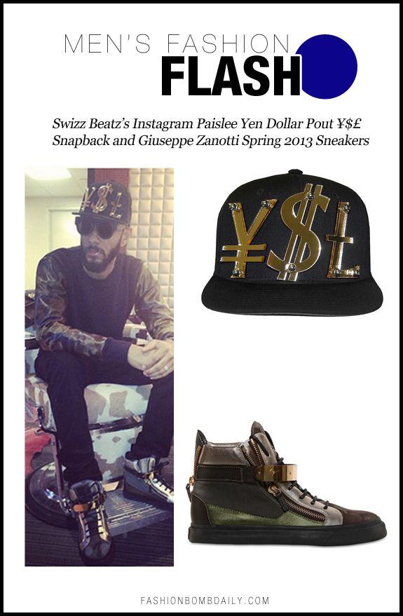 Mens Fashion Flash-121812-Swizz Beatz's Instagram Paislee Yen Dollar Pout ¥$£ Snapback and Giuseppe Zanotti Spring 2013 Sneakers