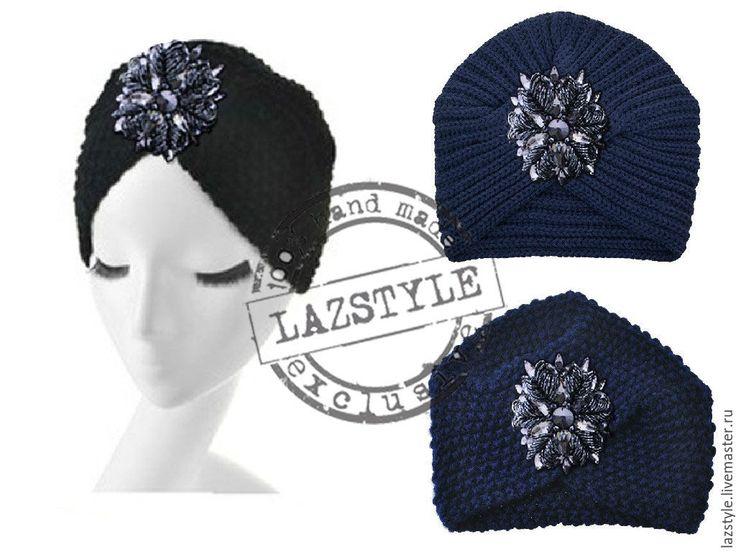 Купить Тюрбан с камнями - темно-синий, абстрактный, тюрбан, тюрбан с камнями, шапка, шапка вязаная