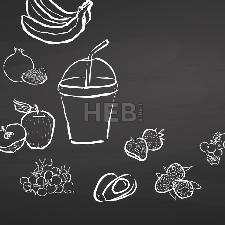 Frozen fruit smoothie to go on chalkboard. Hand drawn healthy food sketch. Black and White Vector Drawing on Blackboard. ... ... by #Hebstreit