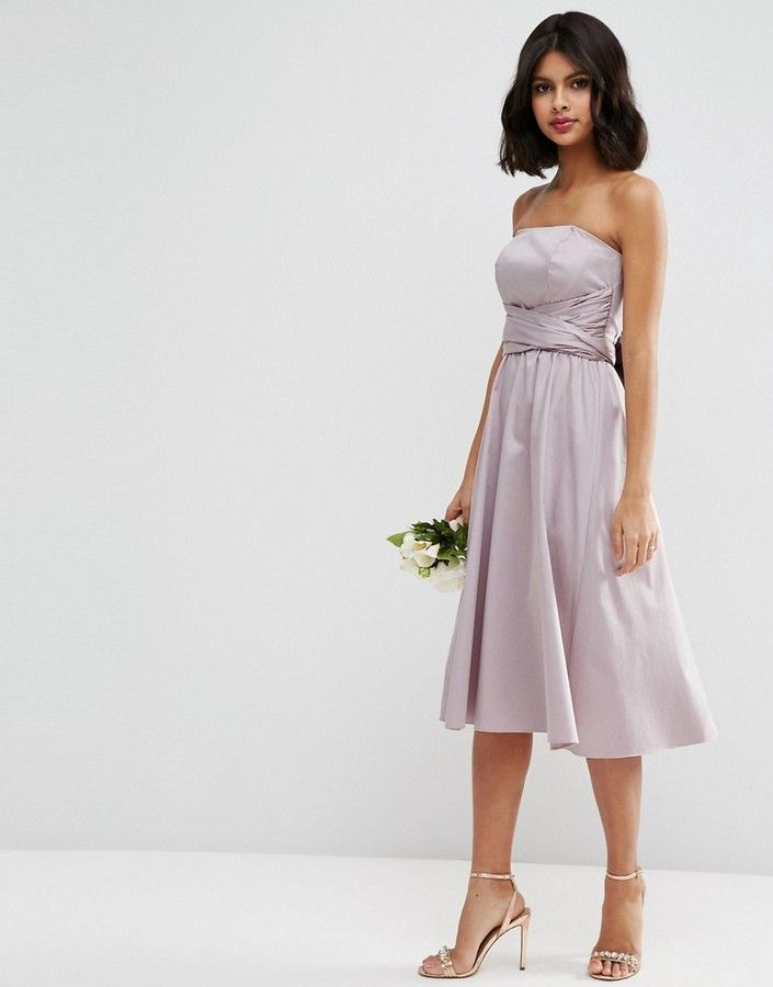 ASOS WEDDING Structured Midi Dress with Bow Detail #ad