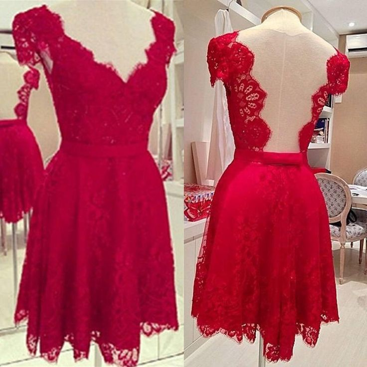 2015 Sexy Red Short Casual Dresses Backless Cheap Lace V-Neck A-Line In Stock Prom Party Dress Gowns for Runaway Online with $16.92/Piece on Sweet-life's Store | DHgate.com