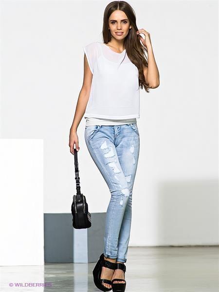 Интернет магазин блестящие светло голубые джинсы