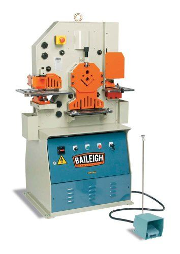 Baileigh SW-501 Steel Hydraulic Ironworker, 1-Phase 220V, 3hp Motor, 50 Ton Pressure. Vertical movement. The vertical movement produces less deformation and cleaner cuts than the competition. Baileigh industry leading hydraulic iron worker is the perfect addition to any fabrication shop where punching, shearing and notching is required in plate, bar, and various types of angle iron. The Baileigh steel worker comes standard with many features the completion makes you pay extra for;...