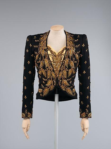 Designer: Elsa Schiaparelli (Italian, 1890–1973) Department Store: for Saks Fifth Avenue (American, founded 1924) Date: 1939 Culture: French Medium: wool, silk, rayon, metallic thread, glass, plastic