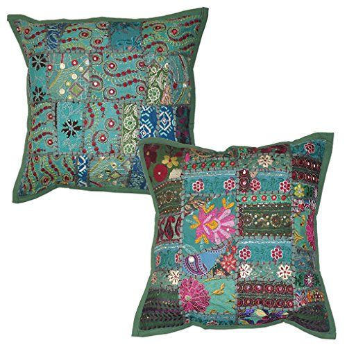Embroidery Patchwork Design Indian Cotton Sequin Work Cushion Cover Christmas Gift 16 X Inches