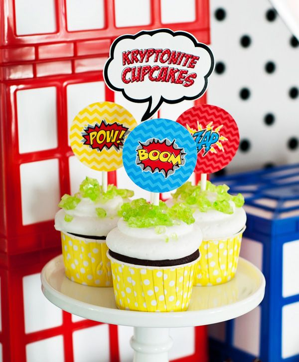 {Budget Friendly} Comic Book Style Super Hero Party Kryptonite Cupcakes made from store bought cupcakes, rock candy and cupcake toppers.