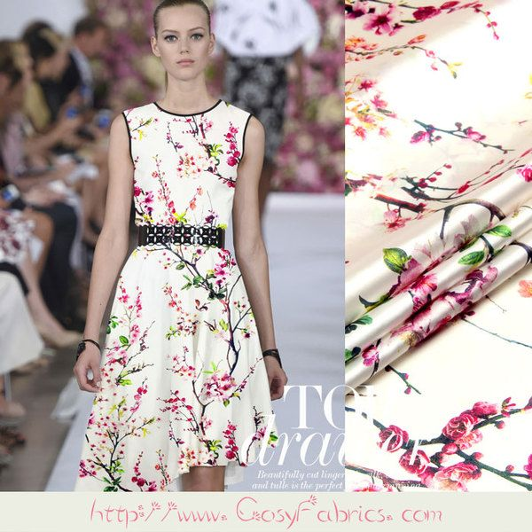 Stoff Blumen - Elasthan Satin Seide Stoff Pfirsichblüten Motive - ein…