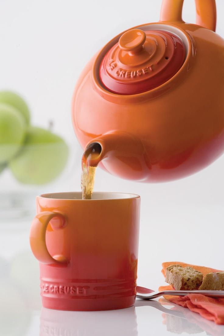 Le Creuset Flame teapot and mug