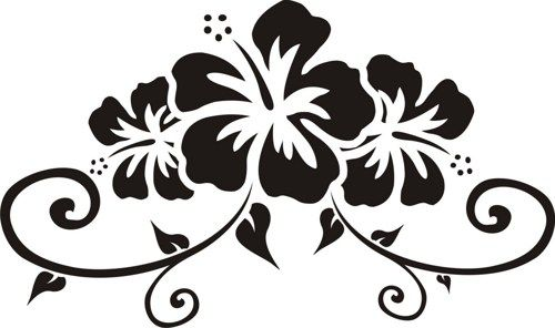 Hibiscus Floral Design Decal Sticker Wall Art Graphic