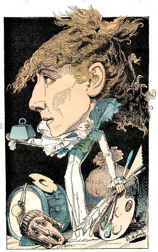 """""""Quando a cortina se levanta, o ator deixa de pertencer a si próprio. Ele pertence ao seu personagem, à seu autor, à  seu público.""""  Sarah Bernhardt  Sarah Bernhardt, 1844-1923, atriz francesa do teatro, caricatura política, 1882 de Alphonse Hector Colomb, pseudônimo B."""
