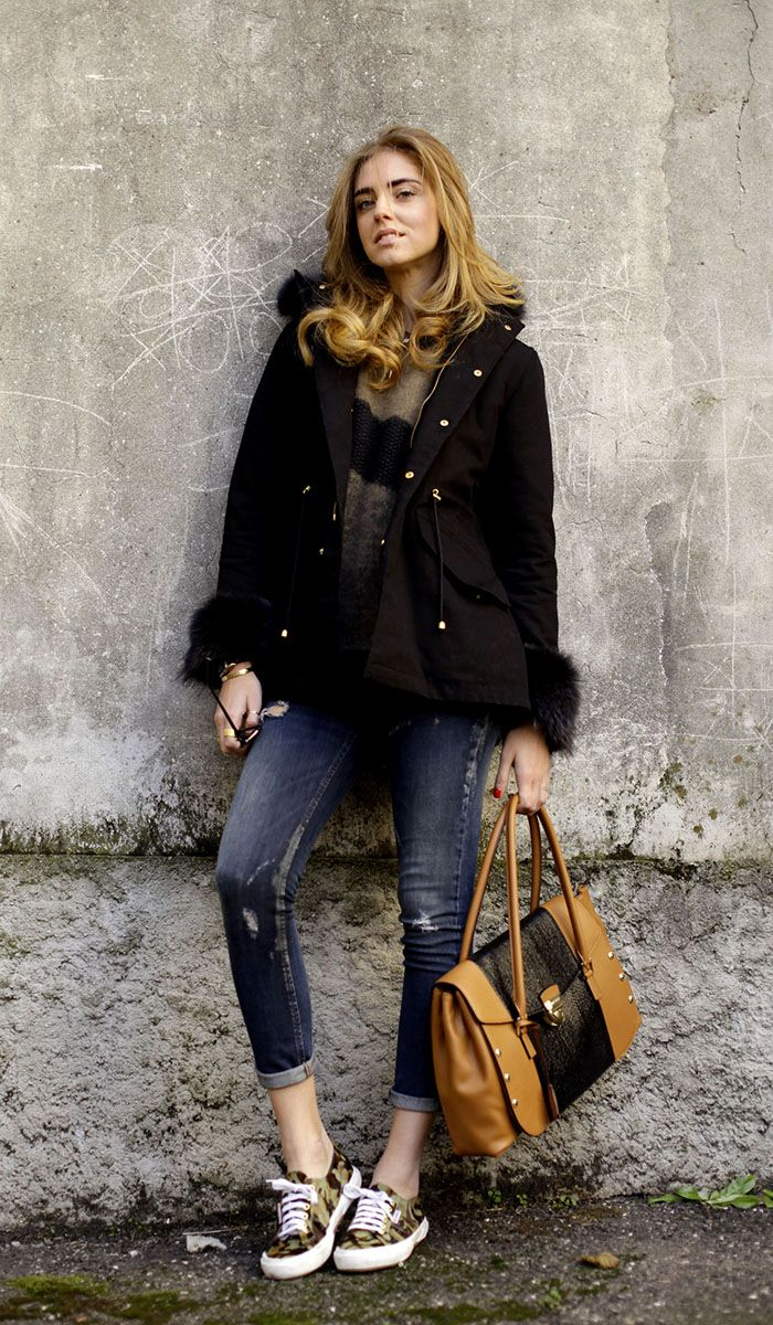 Je M'en coat, Carolina Wyser jeans, Superga for the Blonde Salad shoes, Trussardi bag
