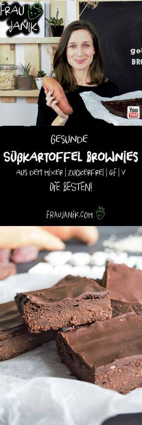 Gesunde Süßkartoffel Brownies aus dem Mixer   vegan   zuckerfrei   glutenfrei   DIE BESTEN! - ohne Butter, Eier, Haushaltszucker & Weißmehl... Diese gesunden Süßkartoffel Brownies sind der absolute Burner! Die sind sooo schokoladig, innen weich und fudgy. #brownies #schokokuchen #gesundebrwonies #süßkartoffelbrownies #gesund #gesundbacken #ohnezucker #backenohnezucker #glutenfreiebrownies #backenkinder #geburtstagskuchen #geburtstag #party #partyfood