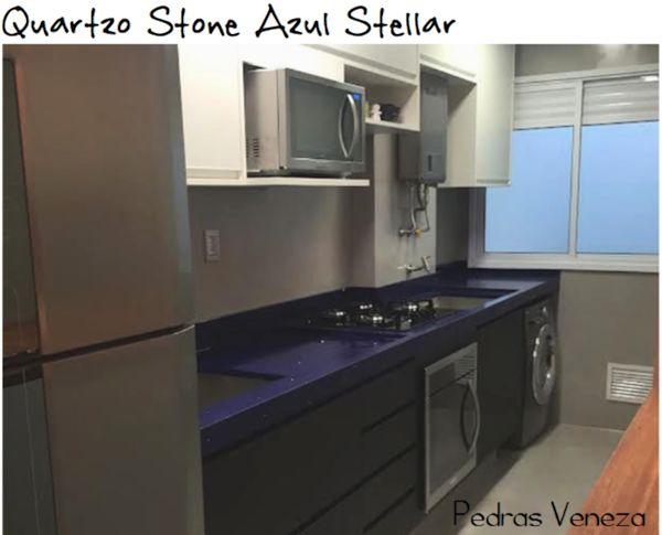 cozinha bancada quartoz stone azul stellar silestone