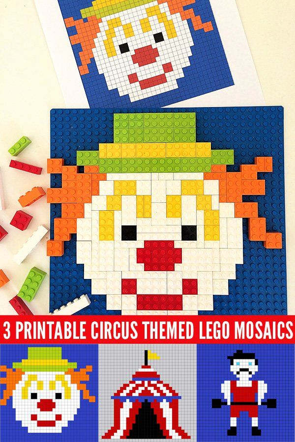 3 Circus Themed Lego Mosaic Printables by Childhood 101