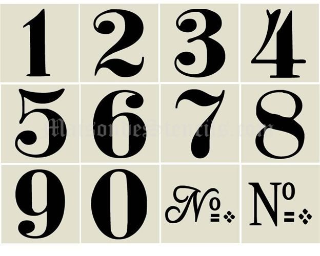 1000 images about stencils numbers on pinterest for Classic house number fonts