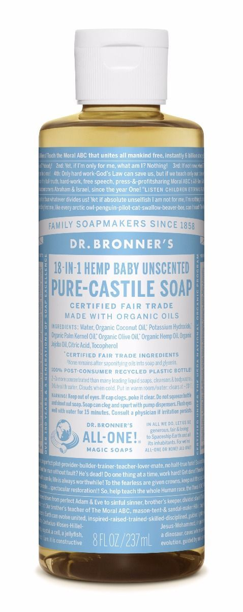 Dr. Bronner's Baby Mild 18-in-1 Pure-Castile Soap Gel 240ml  Description: Dr. Bronner's 18-in-1 Baby Mild Pure-Castile Soap.Deze ongeparfumeerde vloeibare zeep heeft een extra portie Olijfolie en is goed voor de gevoelige huid van baby's. LET OP: niet prik-vrij voor de oogjes!Dr. Bronner's 18-in-1 Pure-Castile Soaps zijn goed voor zowat elke reinigingstaak. Gezicht lichaam haar voedsel afwas wasmiddel dweilen huisdieren: maak uw huis en lichaam schoon zonder synthetische conserveringsstoffen…