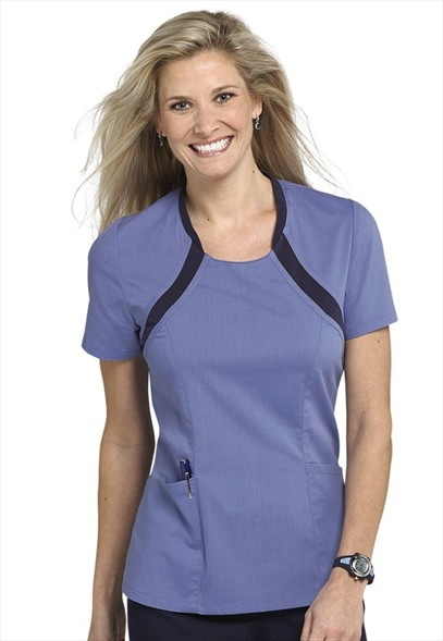 Urbane Sport knit trim scoop neck scrub top with stretch fabric!
