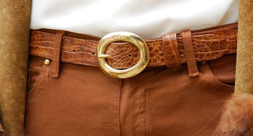 30m detachable tan croc belt £70 shown with solid brass oval buckle £25. Sizes 28 - 42