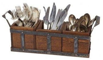 Vintage Wood and Metal Silverware Caddy rustic-flatware