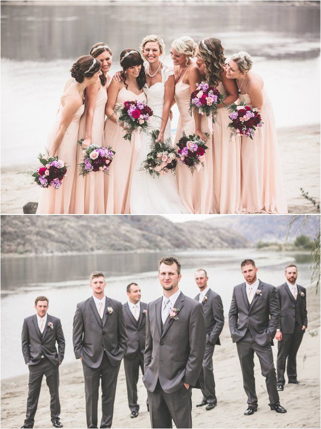 Chelan Rio Vista Destination Wedding Jacquelynn Brynn Wedding Photography Victorian theme, Marsala color, Blush Bridesmaids, headbands, grey suits