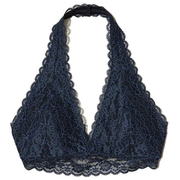 Hollister Lace Halter Bralette With Removable Pads (53 BRL) ❤ liked on Polyvore featuring intimates, bras, navy lace, padded bralette bras, lace halter bra, no underwire bra, lace bra and bralette bras